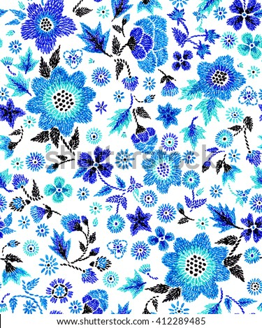seamless graphical hand stitch embroidery imitation floral pattern, flowers, dots, leaves, unusual gentle colorful ditsy background allover print - stock photo