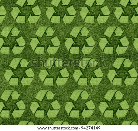 Seamless Grassy recycle sign background. - stock photo