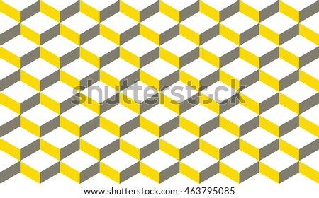 Seamless gray and yellow isometric flattened cubes optical illusion pattern