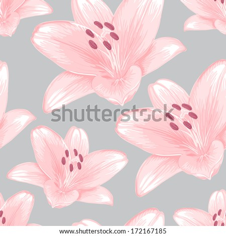 Seamless gray background with pink lilies. Raster version.