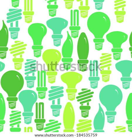 Seamless green and white pattern with energy saving lamps. Raster version