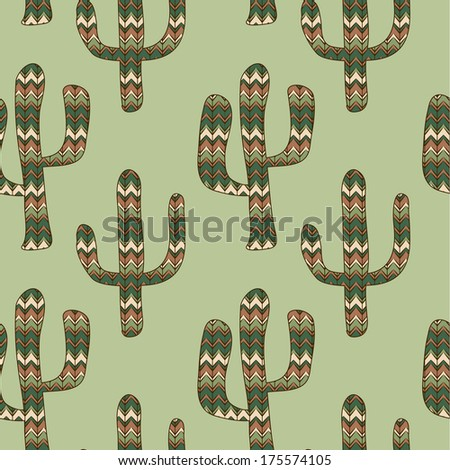 seamless green background with cactus. Use as a pattern fill, backdrop, seamless texture. - stock photo