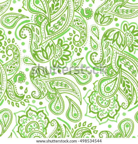 Seamless green paisley pattern on white background oriental decoration print boho style for