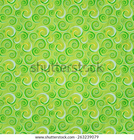 seamless green pattern with curly ornament  - stock photo