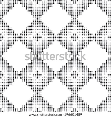Seamless grid black and white texture. Dotted illustration background. Repeating geometric element.