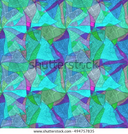 Seamless grunge background, mosaic, kaleidoscopic brightly multicolored pattern, stained glass.