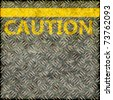 Seamless grunge pavement illustration with a yellow line and the word CAUTION - stock photo