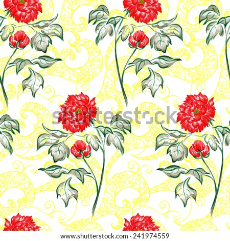 Seamless hand draw watercolor peony flower blossom pattern on white backdrop. Classic seamless vintage flower background. Suitable for various designs, fabric, invitation and scrapbook - stock photo