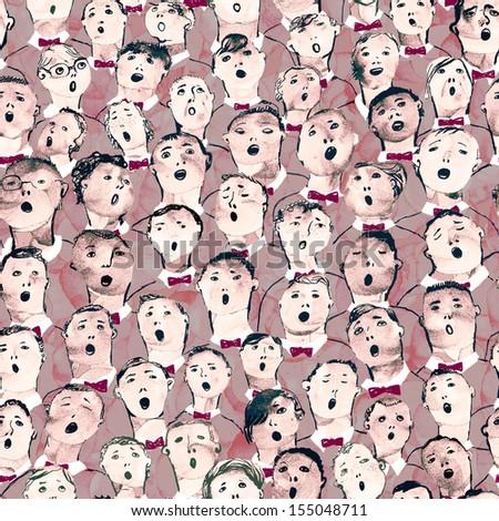 Seamless hand drawn boys choir illustartion - stock photo