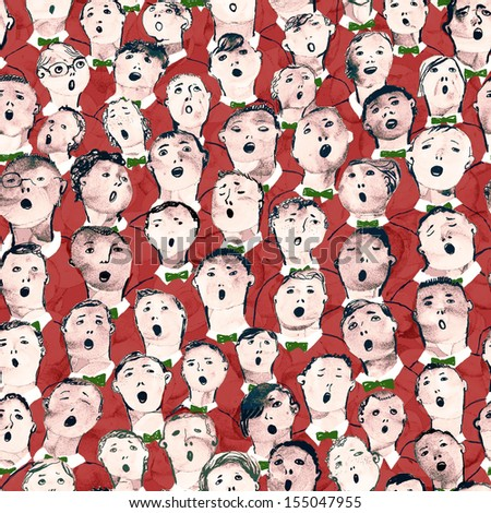 Seamless hand drawn boys choir illustration in red suits - stock photo
