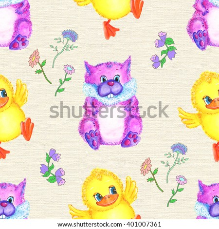 Seamless hand drawn cartoon pattern with cute funny duck and squirrel against texture background. Watercolor repeated childish illustration. Wallpaper design for kids
