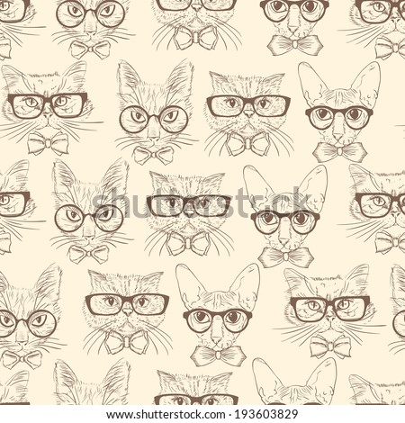 Seamless hand drawn cats in hipster accessories pattern background  illustration - stock photo