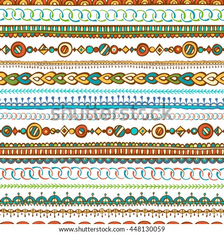 Seamless hand-drawn ethnic pattern. Doodles boundless tribal texture.  - stock photo