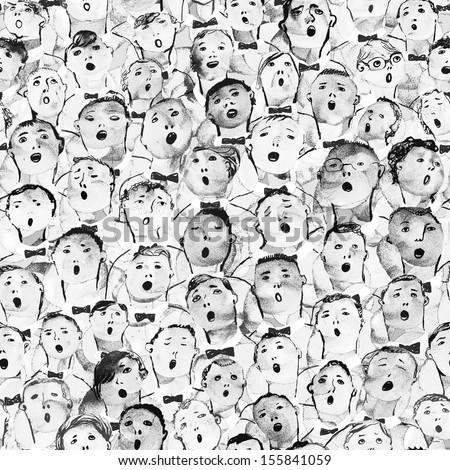 Seamless hand drawn gray scale boys choir illustration - stock photo
