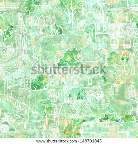 Seamless hand drawn green town illustration - stock photo