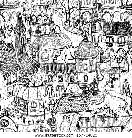 Seamless hand drawn  old town illustration - stock photo