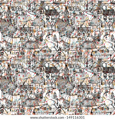 Seamless hand drawn old town illustration with colorful splatter background - stock photo