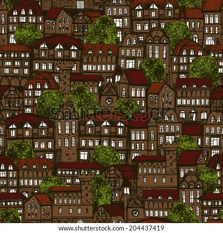 Seamless hand drawn pattern with old city at night - stock photo