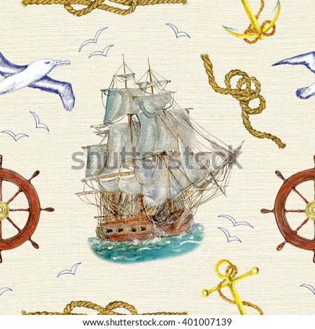 Seamless hand drawn vintage pattern with old sailing or pirate ship, steering wheel, flying gulls and and sea knots on texture background. Watercolor repeated illustration. Wallpaper design.