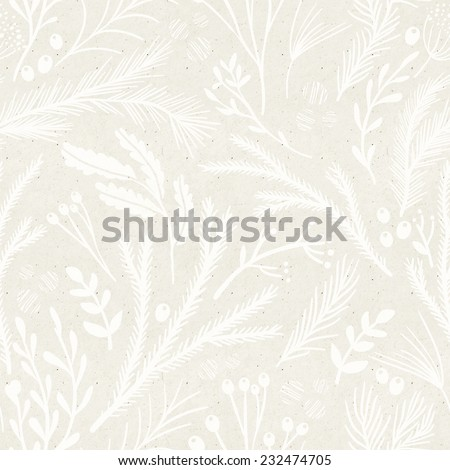 Seamless hand illustrated floral pattern on paper texture. Subtle botanical background - stock photo
