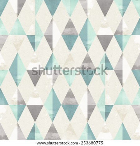 Seamless harlequin pattern on paper texture. Geometric background - stock photo