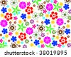 seamless hawaiian floral background in multiple colors - stock photo