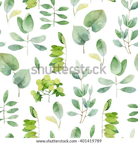 Seamless herbal pattern with leaves. Watercolor illustration - stock photo