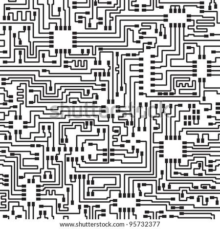 Seamless hi-tech electronic monochrome pattern - stock photo
