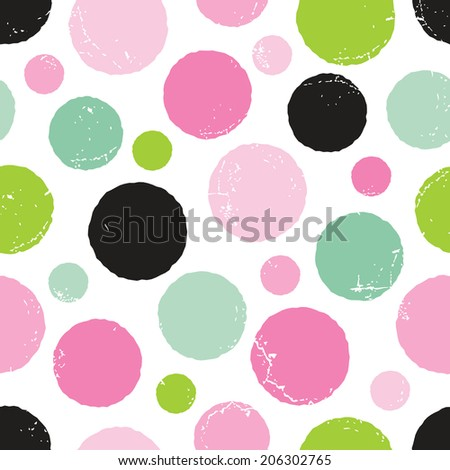 Seamless hipster background with irregular hand drawn polka dots pattern in pinks and greens, raster version. - stock photo