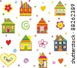 seamless home kid pattern house isolated on White background.  illustration - stock vector