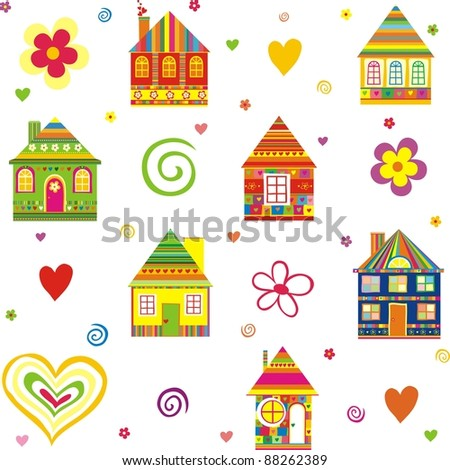 seamless home kid pattern house isolated on White background.  illustration