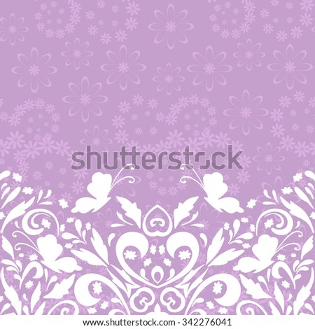 Seamless Horizontal Abstract Background, Symbolical Butterflies White Silhouettes and Floral Pattern - stock photo