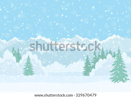 Seamless Horizontal Background, Christmas Holiday Landscape with Snowy Sky, Fir Trees, Snowdrifts and Far Mountains in the Distance