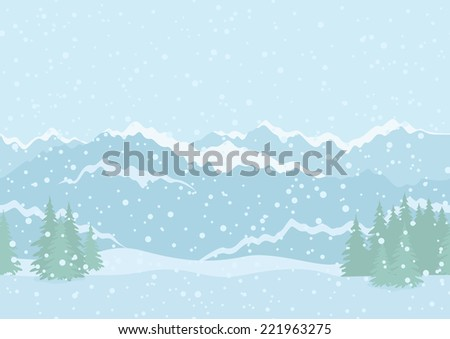 Seamless horizontal background landscape with snowy sky, fir trees, snowdrifts and far mountains in the distance.