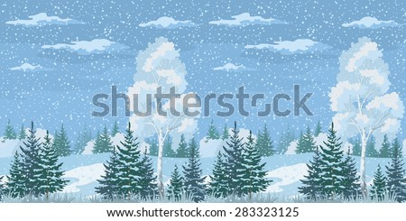 Seamless Horizontal Christmas Winter Forest Landscape with Birch, Firs Trees and Sky with Snow and Clouds.  - stock photo