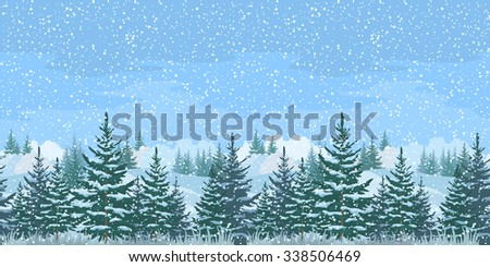 Seamless Horizontal Christmas Winter Forest Landscape with Firs Trees and Sky with Snow - stock photo