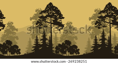 Seamless Horizontal Landscape, Evening Forest with Spruce Trees Silhouettes and Mountains.  - stock photo