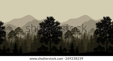 Seamless Horizontal Landscape, Evening Forest with Trees Silhouettes and Mountains.  - stock photo