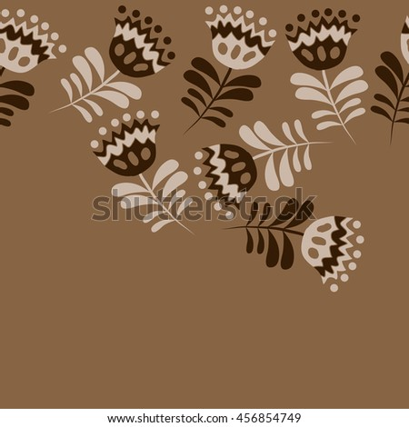 Seamless  horizontal   pattern of floral motif, doodles, flowers, leaves,branches, spot, hole,  object, copy space . Hand drawn.