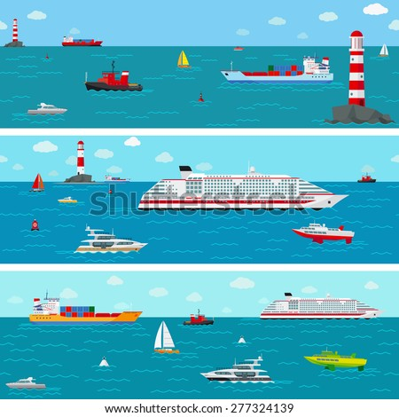 Seamless horizontal sea background with ship icons. Boat and shipping, yacht and liner - stock photo