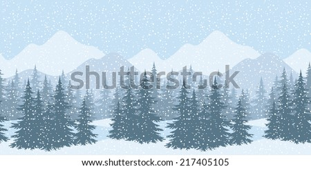 Seamless horizontal winter mountain landscape with fir trees and snow, silhouettes. - stock photo