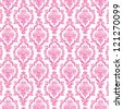 Seamless Hot Pink & White Damask - stock vector