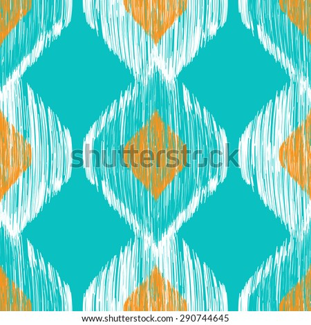 Seamless ikat pattern in yellow and blue colors. Tribal background - stock photo