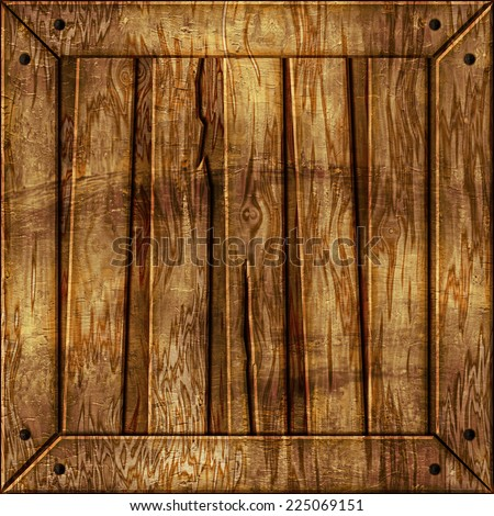 Seamless illustration of a wooden crate. Seamless texture means that you can place a sample side by side and repeat it infinitely or use it as material for games, 3D scenes/objects, and etc. - stock photo