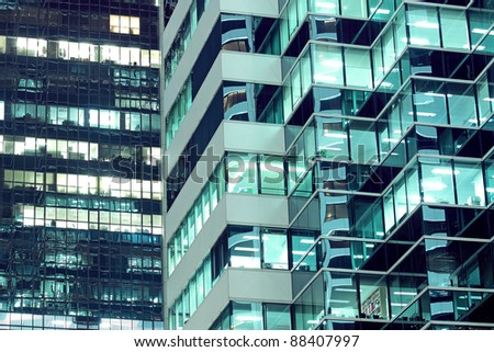 Seamless illustration resembling illuminated windows in a tall building at night - stock photo