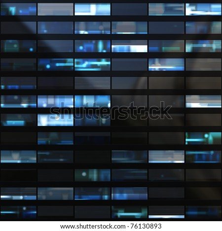 Seamless illustration resembling windows in a modern building illuminated at night. Some of the windows have blinds - stock photo