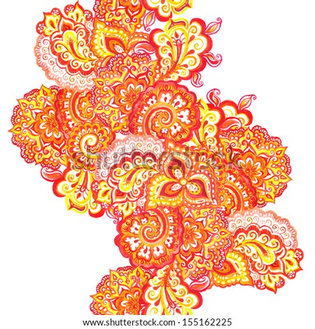 Seamless indian pattern with scrolls and paisleys - stock photo