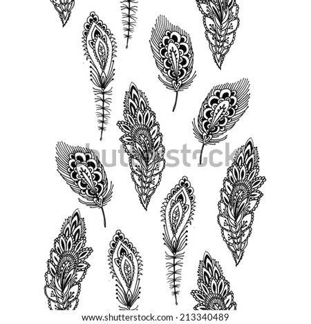 Seamless ink pattern with decorative peacock feathers - stock photo