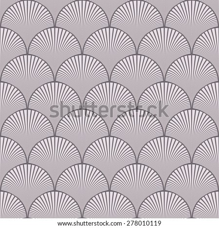 Seamless inverse black and white japanese art deco floral waves pattern - stock photo