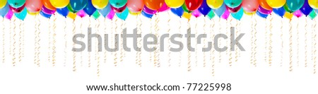 seamless isolated balloons with streamers for party or birthday - stock photo
